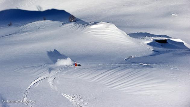 Ski free ride à Peyragudes, dans les Pyrénées